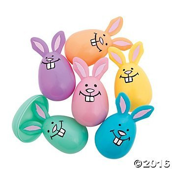Plastic Pastel Bunny Easter Eggs - 12 ct by Novelty Toys