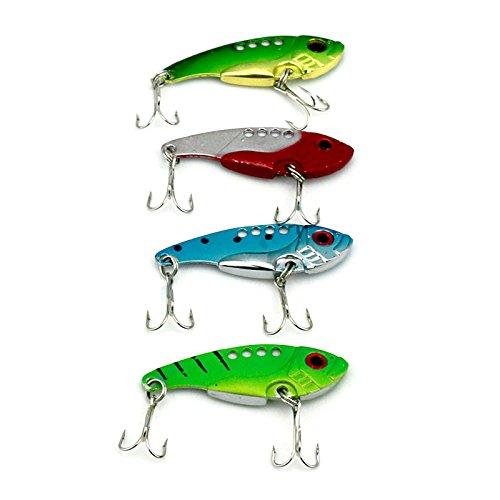 5PCs Fishing Lure Blade Metal VIB Hard Bait Bass Walleye Crappie 11G 5.5CM Fishing Tackle with 8# Hooks