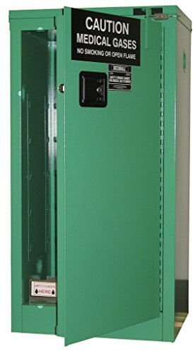 SECURALL MG109FL Medical Gas Cylinder Storage Cabinet, 18-Gauge Steel, 2-Door, 44 x 23 x 18 in, 9-12 D,E Cylinder Capacity, 15 YR Warranty, Fire-Lined - MG Green ()