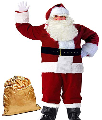 Molodo Men's Deluxe Santa Suit 10pcs Christmas Ultra Velvet Adult Santa Claus Costume