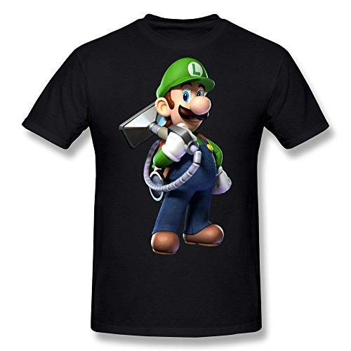 FENGTING Men's Luigis Mansion T-shirt Black Tee