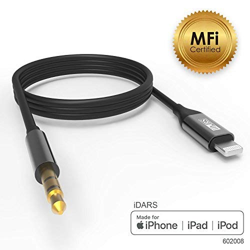 iDARS Lightning AUX Cord, Apple MFi Certified Lightning Audio Cable, Compatible with iPhone for Car Stereo/Home Entertainment/Headphones/Speaker Adapter Support iOS 10 or Above (Black) (Iphone To Car Stereo Adapter)