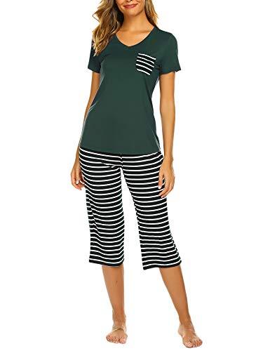 Hotouch Women Sleepwear Cotton Capri Sets Ladies Pajamas Pjs ()