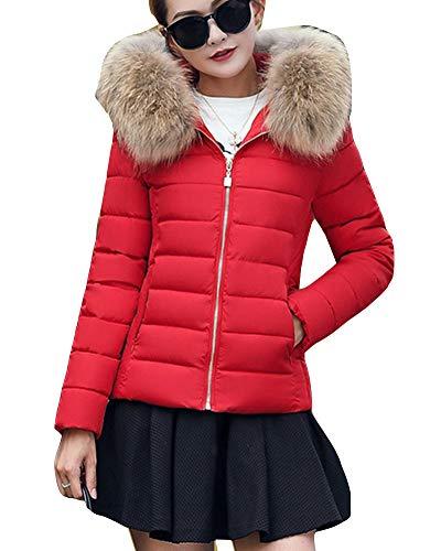 Caliente Acolchado Piel Chaquetas Rojo Abrigo Chaqueta Capucha Mujer GladiolusA De Sintética con Capucha con IATYgxw
