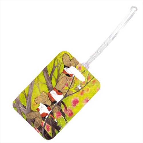 Price comparison product image Calico Kitty White Mouse Fairies Redbud Trees Cat Art by Denise Every - Stylish Luggage Tag