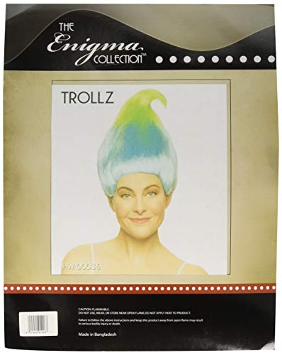 Enigma Wigs Unisex-Adult's Trollz, sky blue/lime layers, one size fits all]()