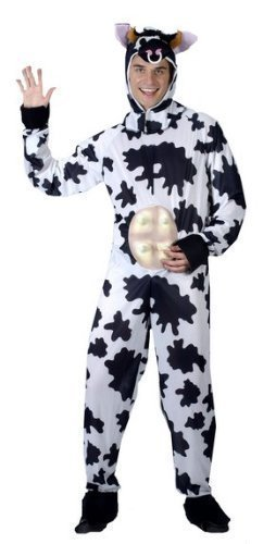 Mens Adult Cow Stag Do Comedy Animal Bestival Onesie Fancy Dress Costume Outfit -