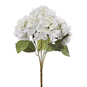 MARJON FlowersArtificial Silk Fake Hydrangea Flower Bounquet Home Party Wedding Decor (Cream) 7