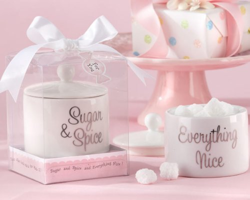 (Kate Aspen Sugar, Spice and Everything Nice Ceramic Sugar Bowl - Set of 6 - Hostess Gift, Guest Gift, Party Souvenir, Party Favor or Decorations for Baby Showers & More )