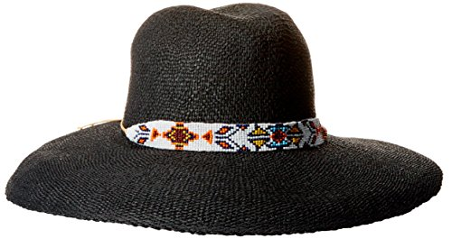 'ale by alessandra Women's bandolier Adjustable Twisted Toyo Fedora Hat, Black, Adjustable Head - Head Hilton Sunglasses