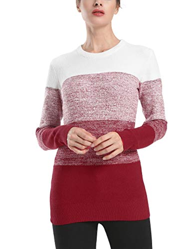 - Rocorose Women's Striped Cashmere Sweater Crewneck Cable Knit Pullover Red S