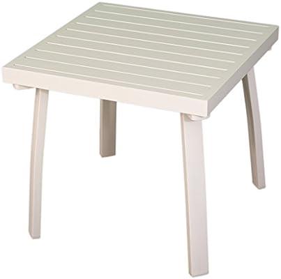 Mesita Auxiliar para jardín de Aluminio Color Blanco, Tamaño: 50x50x47 cm, Patas Desmontables: Amazon.es: Jardín