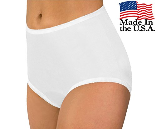 Women's White Classic Nylon Panties Size 8 (3-Pack)