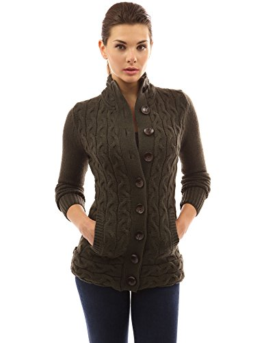(PattyBoutik Women Mock Neck Cable Knit Cardigan (Dark Olive Green X-Large))