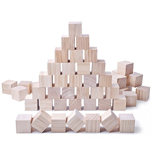 Wooden Block Wood (Glitz Star 24pcs Solid Wood Craft Blocks DIY Crafts Carving Painting Art Supplies for Children Shower Game Puzzle Making,2inch)