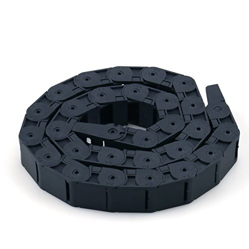 - URBEST Black Plastic Flexible Nested Semi Closed Drag Chain Cable Wire Carrier 1M 18mm x 25mm for Electrical Machines