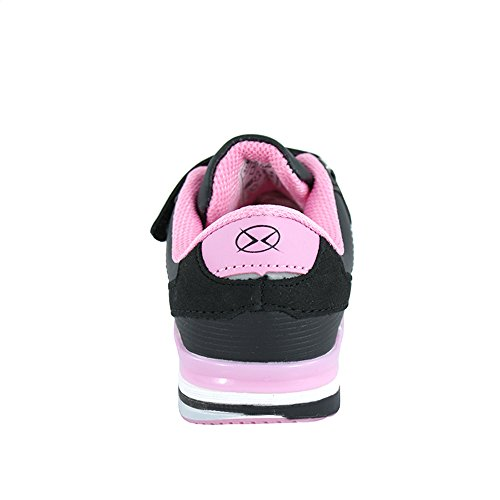 Hallenschuhe für Mädchen Sneaker zur Schule mit Klettverschluss (1077) (26-16,7cm, Schwarz)