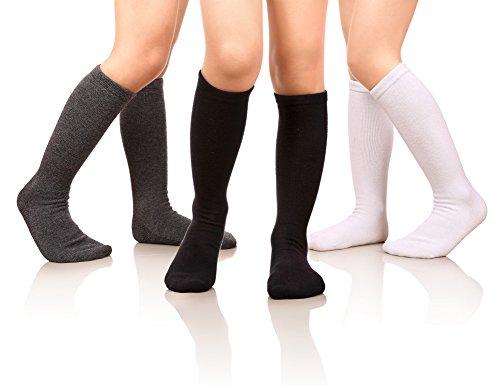 MIUBEAR Girls Cotton Knee High Socks School Girls Uniform Soccer Sport Socks 3-13 Years Old Pack Of 3 (L - 9-13 Years - US Shoe - 2-5, Pack Of 3 White/Gray/Black) - Sports Socks Skirt