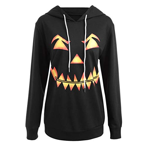 Hot Clearance! Women Long Sleeve Halloween Pumpkin Face Printed Hoodie Sweatshirt Daoroka Ladies O Neck Drawstring Jumper Pullover Hooded Tops Fashion Autumn Winter Causal Blouse -