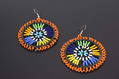 African Beads Earrings - Handmade in Kenya - Length: 3 Inches (with hooks)