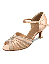 Minitoo TH007 Women's Mesh Flared Heel Satin Latin Salsa Ballroom Dance Shoes