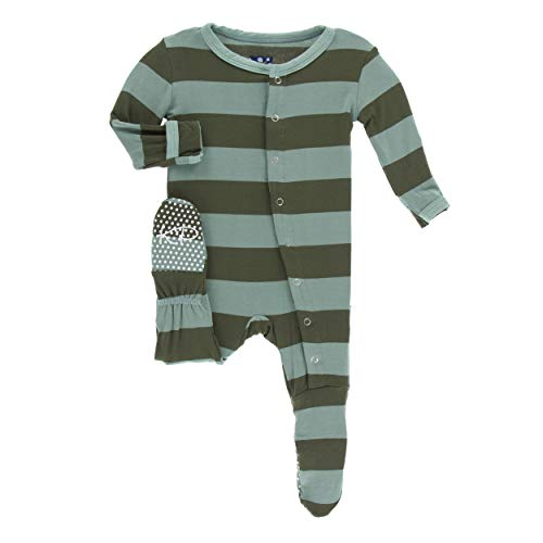 (Kickee Pants Little Boys Print Footie with Snaps - Paleontology Fauna Stripe, 9-12 Months)