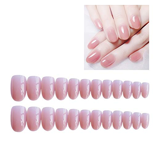 lightclub 24Pcs False Nails Art Tip Decoration Full Cover Waterproof Fingernail Stickers Pink