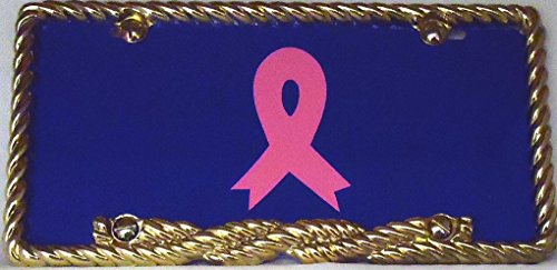 1 , Breast Cancer Pink Ribbon , on a, Blue Metal License Tag , And a Gold Rope Metal Border,+19A1.3+BL13B3.0+6B4.3+