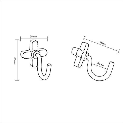BJLWT Space Aluminum Hanging Hook Wall Hanging Bathroom Creative Hanger Hook Solid Single Hook (5 Pack) -Beautiful and durable