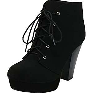 27fc9f706302 Cambridge Select Women s Lace-up Platform Chunky Stacked Heel Ankle Bootie