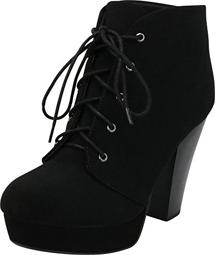 Cambridge Select Women's Lace-up Platform Chunky Stacked Heel Ankle Bootie,8 M US,Black -