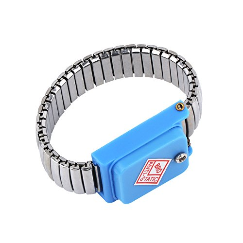 FIXFANS Anti Static ESD Cordless Wrist Strap Bracelet Stainless Steel Band Metal Discharge for Electrician IC PLCC Worker ()