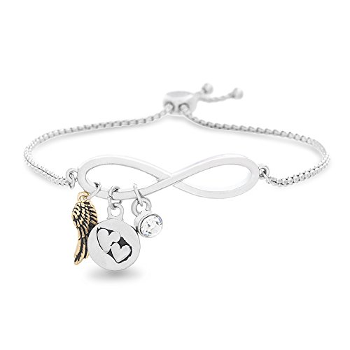 WILLOWBIRD Heart Wing Charm with Crystal Infinity Slider Adjustable Bracelet for Women in Two-Tone Plated Brass