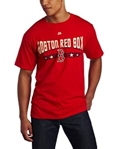 MLB Men's Boston Red Sox 1969 Cooperstown Baseball Tickets Short Sleeve Basic Tee (Athletic Red, Large)