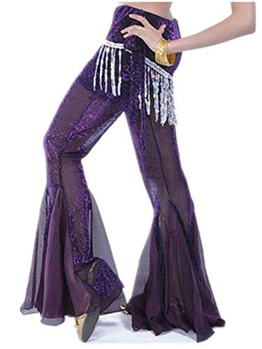 Señoras gasa danza pantalones Culottes Bell fondo pantalones de danza del vientre disfraz Dark Purple