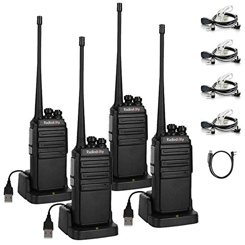 Radioddity GA-2S Long Range Walkie Talkies UHF Two Way Radio Rechargeable with Micro USB Charging + Air Acoustic Earpiece + 1 Free Programming Cable, 4 Pack