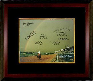 Smarty Jones Signed Autograph Churchill Downs Kentucky Derby Winners 1978 Horse Racing Rainbow 16x20 Photo 7 signatures Deluxe Custom Framed - Autographed Racing Collectibles