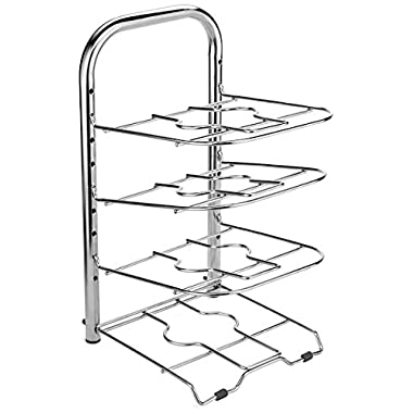 BTH Height Adjustable Large Pan and Pot Organizer Rack, Stainless Steel