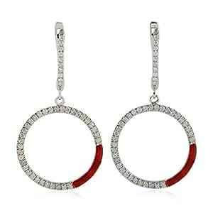 14K White Gold Handmade Designer Pave Diamond Dangle Earrings for Women