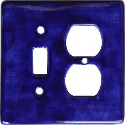 Blue Talavera Toggle-Outlet Switch Plate by Fine Crafts & Imports