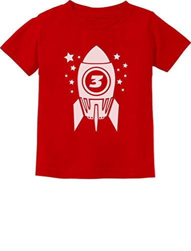 Space Birthday Party Ideas (Gift for Three Year Old 3rd Birthday Space Rocket Toddler/Infant Kids T-Shirt 4T)