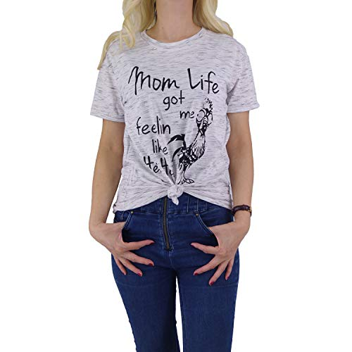 Hellopopgo Mom Life Got Me Feelin Like HEI HEI Funny Saying Soft Mother T-Shirt Casual Top Tee for Shopping Work (Large) White