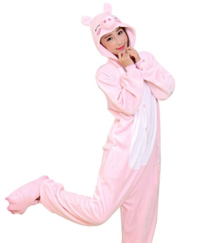 LmeiKKWomen's Cosplay Flannel Anime Cartoon Onesie Adult Pajamas(S, Pink pig) by LmeiKK