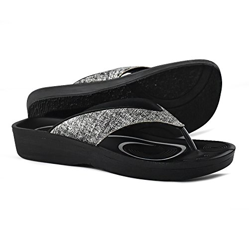 AEROTHOTIC Original Orthotic Comfort Thong Sandal and Flip Flops with Arch Support for Comfortable Walk (US Women 8, Mellow Black)