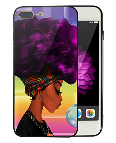 (iPhone 8 Plus Case iPhone 7 Plus Case Women Purple Girly Art, Black Girl African American Afro Hair Artistic Print Design Protective iPhone7/iPhone8 Plus Cover Slim Fit Tough Smooth TPU - KITATA)