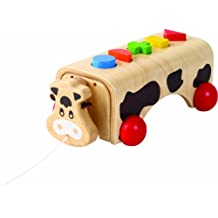 Voila Wooden Geo-Cow Pull-Along Shape Sorter