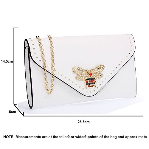 Bag Shannon Ladies Stud Party Wedding SWANKYSWANS Evening Clutch Night Out Prom Purse Celebrity Queen Bee White 6gFxdnRd