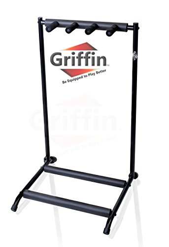 Three Guitar Rack Stand by Griffin | Holder for 3 Guitars & Folds Up | For Electric, Acoustic & Classical Guitar, Bass & Ukulele | Ideal For Music Bands, Recording Studios, Schools, Stage Performers from Griffin