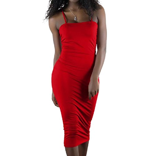 Coolred-femmes Bandage Sangle Spaghetti Robe Moulante Pur De Party Club Sexy Couleur Rouge