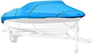 Budge 1200 Denier Boat Cover fits V-Hull Runabout Boats B-1200-X5 (17' to 19' Long, Blue)